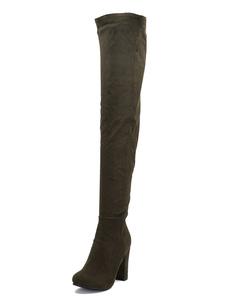 Image of Stivali alti alla coscia in camoscio Stivali tacco alto con punt