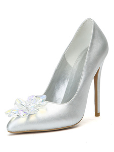 Image of Argento tacchi alti da donna a punta in cristallo dettaglio Slip On Party Shoes Scarpe da sera