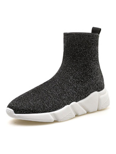 Calcetines grises Mujeres Botas elásticas de punta redonda Zapatos casuales
