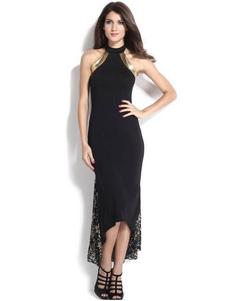 Image of Vestito da sera nero vestito da sera abito da sera senza maniche