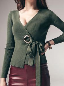 Abrigo de mujer suéter con cuello en V Hunter verde suéter prendas de punto