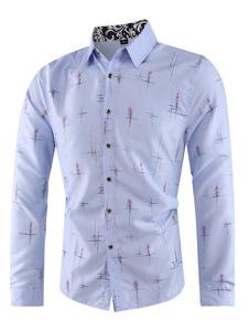 Image of Camicia casual da uomo a maniche lunghe Plus. Camicia blu chiaro