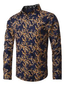 Image of Camicia Casual da Uomo 2019 Camicia a Maniche Lunghe con Vestibi