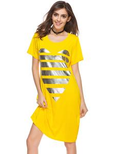 Image of Abito da donna T Shirt Abito manica corta girocollo Stampa abito