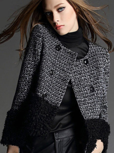 Image of Giacca da donna con bottoni neri Giacca invernale in tweed sinte