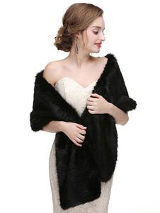 Abrigo de boda chal de piel sintética robó chaqueta de invierno nupcial cubierta ups