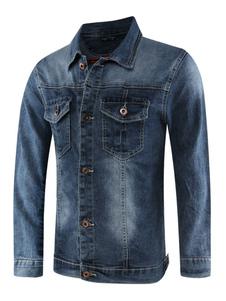 695939684bdd Chaqueta vaquera hombre talla grande con botones de bolsillo desgastados  Chaqueta azul talla normal