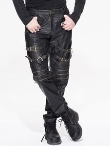 Image of Pantaloni gotici Pantaloni uomo Halloween Costume Nero PU fibbie