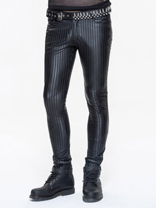 Image of Pantaloni gotici Costume Halloween Nero PU Stripes Uomo Bottoms