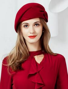 Image of Cappello di lana Cappello a berretto retrò Cappello a farfalla b