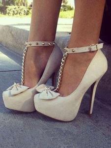 Blanco de Tacón Altos con Plataforma  Almendra T Tipo Lazo con Remaches Tobillo Correa Pumps Mujer Sexy Zapatos 2018