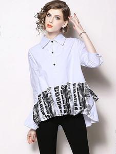 Camisa blanca de mujer Botones de cuello descubierta Camiseta con estampado alto bajo
