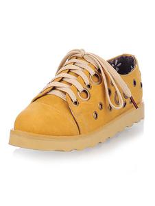 Calzado casual de mujer Ojales redondos Detalle de cordones Zapatos con cordones