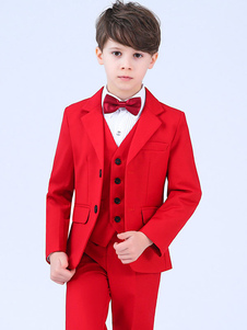 Image of Red Ring Bearer Outfit Wedding Boys si adatta a Tuxedo Kids Form