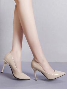 Image of Strass Nude Tacchi alti da donna Scarpe con punta di strass Slip