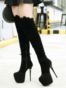 Ante Botas 2018 Sexy Negro Con Plataforma Encaje Detalle Tacón de Aguja Pierna Alta Botas Mujeres Sobre la Rodilla Botas