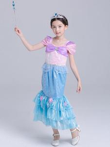 Ariel Cosplay disfraces de Halloween Disney Little Girls vestidos de sirena azul