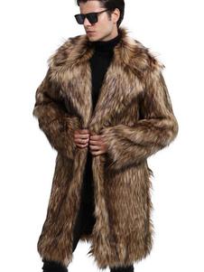 Abrigo borroso para hombre Abrigo marrón oscuro de piel sintética Abrigo de cuello largo Casual Abrigo de invierno
