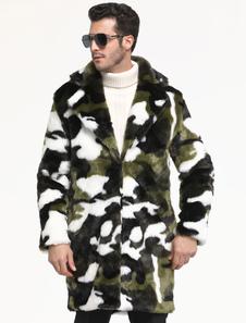 Abrigo de piel sintética Hunter Camuflaje verde Patrón Prendas de abrigo Casual Manga larga Hombres Abrigo de invierno