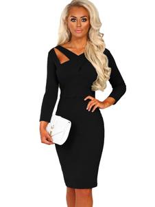 Image of Vestito aderente da donna 2020 Vestito aderente nero Vestito man