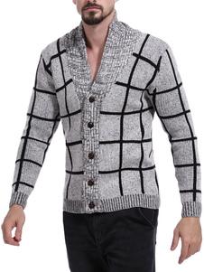 Abrigo de manga larga con cuello abotonado a cuadros abotonados y abotonados hasta los hombres