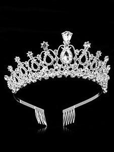 Bailarina Tiara Corona Mujer Diamantes de imitación cuentas de plata Princesa Headpieces