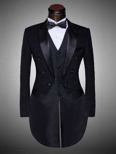 Image of Smoking da Uomo 2019 Abito da Sposo Costume Nero Etrò Halloween
