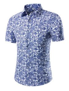 Image of Camicia uomo Beach Camicia casual a maniche corte con stampa flo