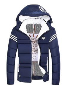 Abrigo acolchado azul de la chaqueta del soplador de los hombres del tamaño extra grande del abrigo del invierno encapuchado