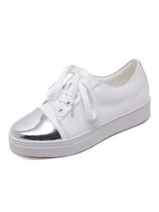 Las mujeres zapatillas de deporte blancas punta redonda con cordones zapatos casuales zapatos planos