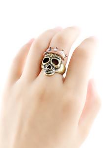 Anillo apilable de Halloween Corona Cráneo Bronce Gótico Joyas