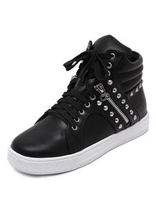 Las zapatillas de deporte de cuña negras remaches con cremallera del dedo del pie redondo de las mujeres atan para arriba los zapatos casuales superiores