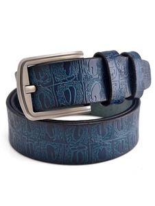 Image of Men Buffalo Belt Pattern Metallic Buckle Genuine Leather Belt