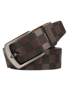 Image of Business Casual Belt Buffalo Plaid Brown Genuine Leather Belt Fo