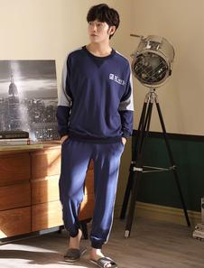 Image of T-shirt da uomo manica lunga in cotone blu con stampa manica lun