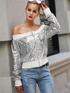 Image of Giacca da donna con paillettes Giacca lunga da donna con maniche