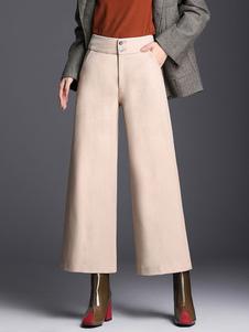 Image of Pantaloni gamba larga Pantaloni donna Zip pantaloni a vita alta
