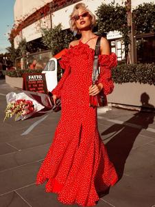 Image of Abito da donna con maniche lunghe a maniche lunghe vestito da po