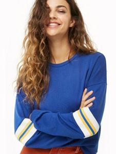 Image of Top a maniche lunghe a righe blu con felpa oversize per donna