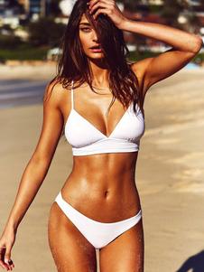 Image of Costume da bagno bikini 2019 bianco con cinghie Sexy a due pezzi