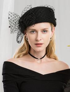 Image of Costume Carnevale Cappello di lana retrò Donna Cappello nero a c