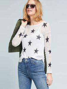 Image of Maglione Pullover bianco Maglione lavorato a maglia Sheer Star