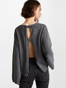 Image of Maglione grigio pullover manica lunga tagliata indietro maglione