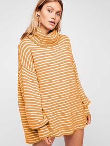 Image of Maglione a collo alto oversize maglione maglia pullover a righe