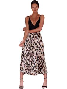 Image of        Pantaloni a vita alta Pantaloni Leopard a vita alta