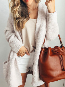 Image of Teddy Faux Fur Coat manica lunga aperta davanti Fluffy Winter Co