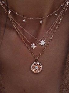 Image of Collana con catena pendente a stella con collana in oro
