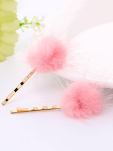 Image of Pink Hair Accessories Women Pink Fur Detail Forcine