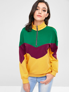 Image of Donna Casual Felpa Stand colletto Zip Up Color Block Pullover To