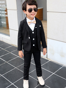 Image of Ring Bearer Suits Boys Wedding Outfit Tuxedo Black Kids Formal W